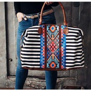 Aztec Print Striped Weekender Travel Shoulder Bag